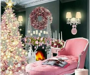 christmas, light, and pink image