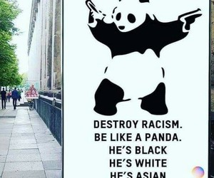 panda, black, and racism image