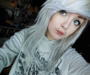 girl, piercing, and white hair image
