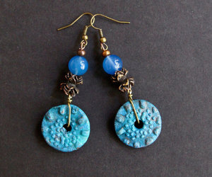 etsy, ceramic earrings, and spiral earrings image