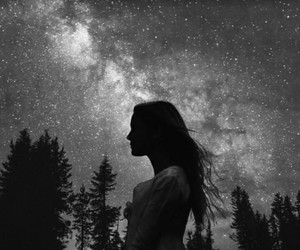 dark, girl, and stars image