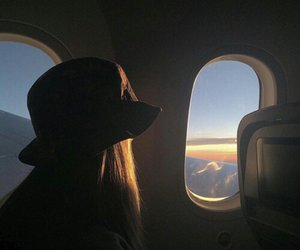 travel, girl, and airplane image