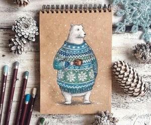 art, winter, and bear image