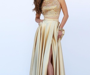 dress, golden, and style image