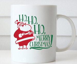 christmas mug, ceramic mug, and ho ho ho christmas image