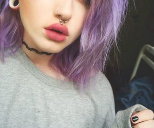 piercing, hair, and grunge image