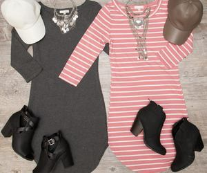boots, dress, and necklace image