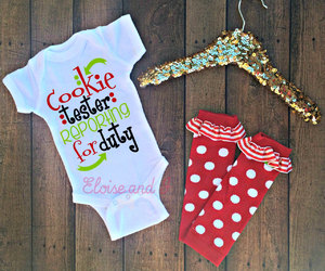 christmas cookies, christmas clothes, and baby girl clothes image