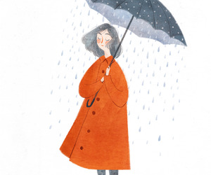 girl, rain, and art image