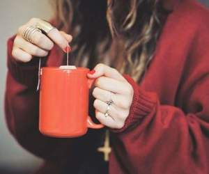 girl, tea, and red image
