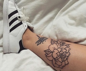 tattoo, adidas, and flower image