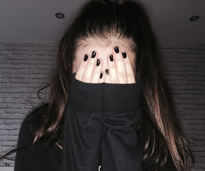 black, hairstyle, and nails image