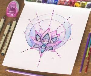 art, lotus, and drawing image
