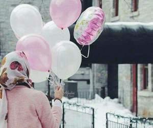 hijab, girl, and pink image