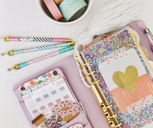 girly, notebook, and pencil image