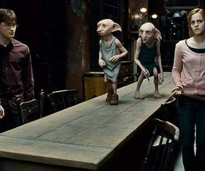harry potter, hermione granger, and dobby image