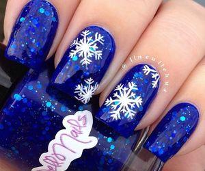 nails, blue, and christmas image