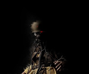 apocalyptic, soldier, and gas mask image