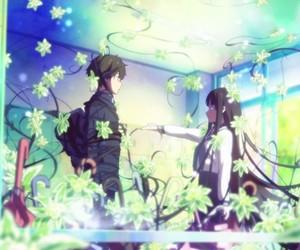 anime, flowers, and anime boy image