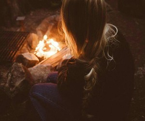 fire, girl, and pic image