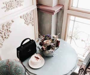 coffee, flowers, and bag image
