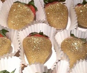 strawberry, food, and gold image