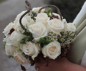 bouquet, bride, and rose image