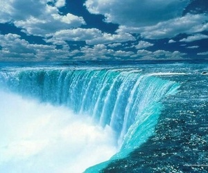 water, blue, and waterfall image