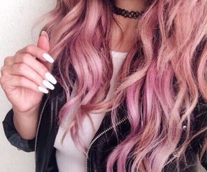curls, nails, and pink image