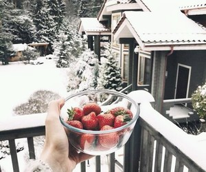 winter, snow, and strawberry image