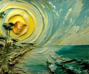 art, painting, and sun image