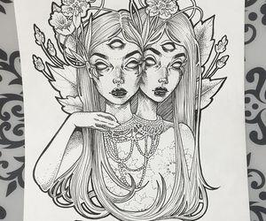 art, girl, and draw image