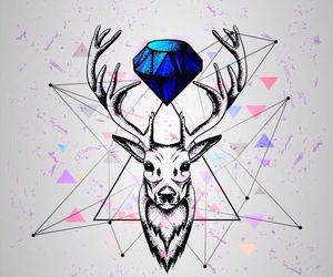 wallpaper, deer, and art image