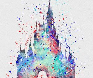 disney, castle, and watercolor image