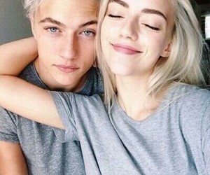 couple, boy, and blonde image