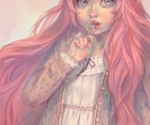 anime girl and pink hair image