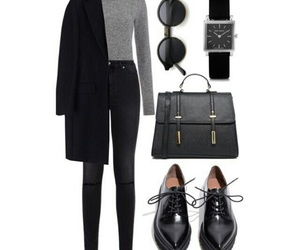 black, sunglasses, and coat image