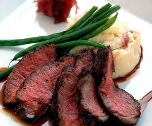 food, mashed potatoes, and steak image