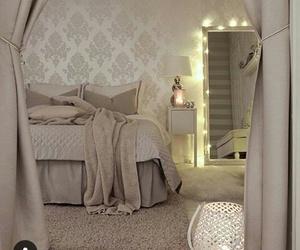 bedroom, decor, and mirror image