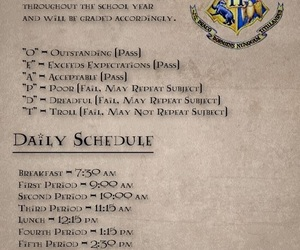 harry potter, hogwarts, and class schedule image