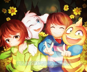chara, frisk, and monster kid image