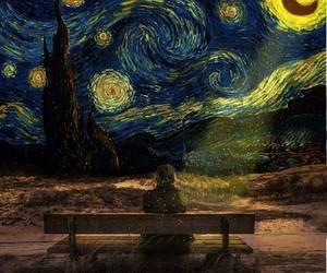 art, night, and starry night image