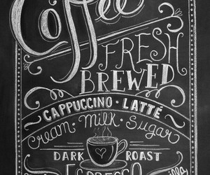 chalkboard, typography, and coffee image