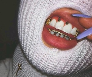 nails, gold, and grillz image