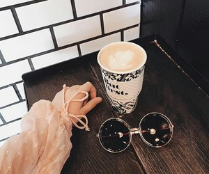 coffee, glasess, and fashion image