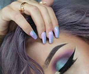 makeup, nails, and purple image