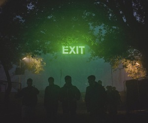 exit, green, and neon image
