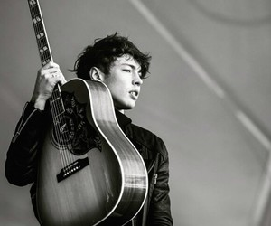 aesthetic, black and white, and guitar image