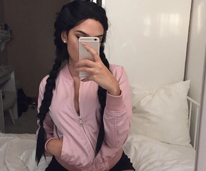 hair, pink, and outfit image