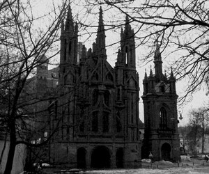 b&w and church image
